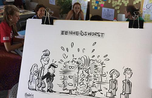 Live cartoons tijdens brainstormdag
