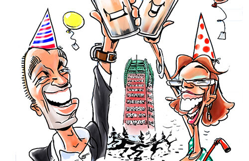caricature two jubilants